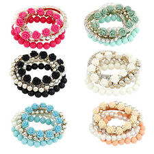 Fashion Women Jewelry Rose Flower Pearl Charm Bangle Multilayer Pendant Bracelet