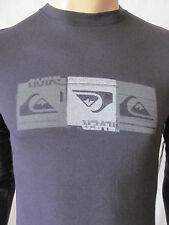 New QUIKSILVER Mens Black L/S Crew Printed Triple Lindy Microthermal T Shirt $29
