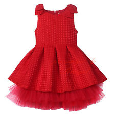 Child Kids Girl Bow Flower Tulle Dress Toddlers Formal Wedding Pageant New Year