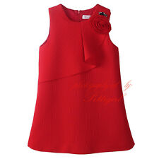 Child Kids Fashion Red Flower Girl Vest Dress Toddler Wedding Party Formal Dress