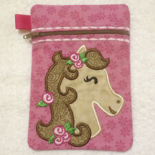 In-The-Hoop ZIP BAG * PONY 1 * Machine Embroidery Patterns * 5x7in hoop