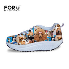 Pug Dog Cool Women Lace-up Sport Flat Shoes Casual Wedge Fitness Sneakers Shoes