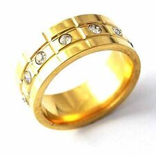 Fashion jewelry vintage Clear CZ Mens Band Ring Yellow GF Size 7 8 9 10 11