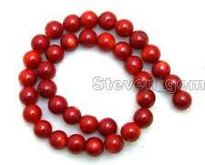"SALE Red 12-13mm round High quality natural Coral loose beads strand 15""-los639"