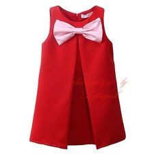 Kids Baby Girl Dress Solid Bow Princess New Year Party Wedding Holiday Dresses
