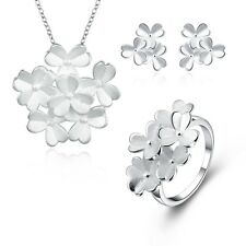 Women 925 Sterling Silver Plated Flower Necklace Earrings Ring Jewelry Sets
