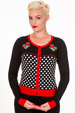 Banned Rockabilly 50s Polka Dot Strawberry Cardigan Plus Over Size Top Black Red