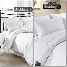 "600 800 1000 1200 TC 100% Egyptian Cotton US Size Bedding in Super Soft ""White"""