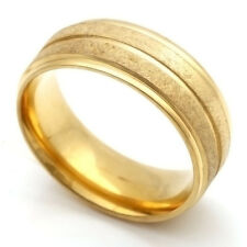 Fashion jewelry Yellow Gold Plated Stainless Steel Scrub Band Ring 7 8 9 10 11