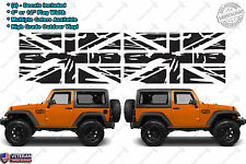 (2) Union Jack Distressed Flags Great Britain Vinyl Decals fits: Jeep Wrangler