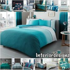 NEW Teal Collection Various Modern Designs Printed Reversible Bedding All Sizes