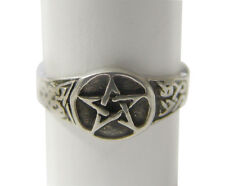 Celtic Pentagram Ring Pentacle & Celtic Knots Engraved Pewter Gothic Wicca Pagan