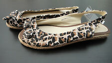 BNWT SAINSBURYS TU LADIES BROWN LEOPARD PRINT CANVAS SANDALS SIZES 3-7 RRP £12