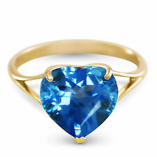 Genuine Blue Topaz 10 mm Heart Gem Solitaire Ring 14K Yellow, Rose or White Gold