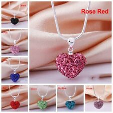 Fashion Women Pendant Chain Jewelry Crystal Heart 925 Sterling Silver Necklace
