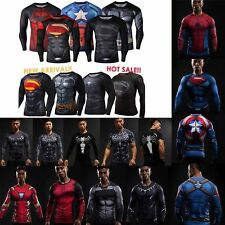 Superhero Marvel Compression Men's T-Shirt Long Short Sleeve Sports Gym Clothes