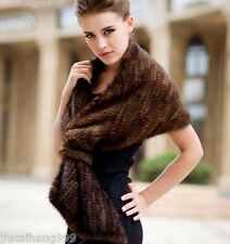 100% Real Knitted Mink Fur Scarf Cape Stole Shawl Coat Wrap Fashion Evening New-