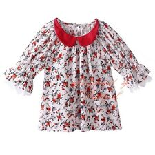 Baby Girl Clothes Flowers Lace Shirt Children Half Sleeve Floral Summer Tops 3-8