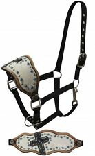Showman Bronc Halter w/ Genuine Cowhide and Alligator Print Cross NEW HORSE TACK