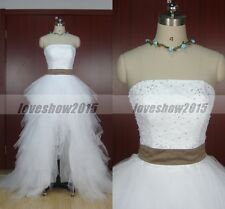 Vintage White Tulle Hi-Lo Ball Gown Wedding Dresses Custom Made Bridal Dress