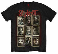OFFICIAL SLIPKNOT MUSIC T-SHIRT MENS BLACK NEW MASKS DESIGN ROCK THRASH METAL