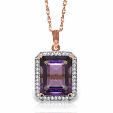 Natural Purple Amethyst Emerald Cut Gem Diamonds Pendant Necklace 14K Solid Gold
