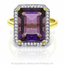 Genuine Amethyst Oval Cut Gem & Diamonds Ring in 14K. Yellow, White or Rose Gold