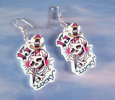 Lucky 13, Rose of Love Skull Tattoo Hardy Earrings Dangle Fashion Statement Goth