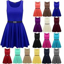 NEW LADIES WOMENS FLARED BELTED FRANKI PARTY SKATER DRESS PLUS SIZE UK SIZE 8-26