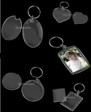 10pcs Clear Acrylic Plastic Blank Keyring Insert Passport Photo Keychain Keyfob