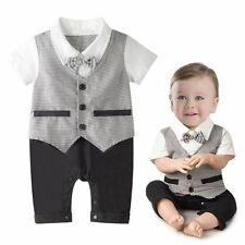 Baby Boy Formal Wedding Christening Checked Tuxedo Suit Outfit Dress Cloth 3-18M