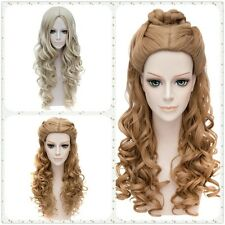 Cosplay Cinderella Anime Curly Wavy Long Full Hair Brown Party Lady Girls Wigs