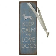 "Blue Metal Dachshund ""Keep Calm and Love Dogs"" Dog Hanging Sign/Plaque 15x5cm"