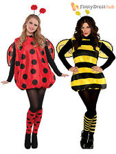 Ladies Darling Lady Bird Bumble Bee Costume Adults Bug Fancy Dress Outfit Insect