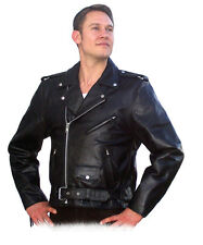 Classic Brando Black Biker, Motorcycle Genuine Nappa Leather Jacket Mens Womens