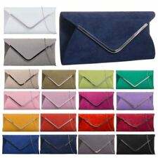 FAUX SUEDE WOMENS NEW PARTY NIGHT OUT CLUTCH BAG SILVER CHAIN TRIM HANDBAG Z320