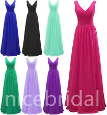 Cheap V-neck Chiffon Long Bridesmaid Prom Dress Party Ball Formal Evening Gown