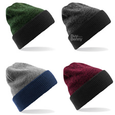 BEECHFIELD HAT REVERSIBLE BEANIE CUFFED SLOUCH TURN UP WINTER WARM KNITTED STYLE