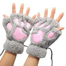 5 Colors Fingerless Gloves Plush Women Claw Design Cat Bear Paw Claw Winter C1MY