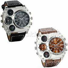 Men's Sport  Army Multi-functional 2 Time Zones Dial Leather Quartz Wrist Watch