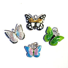 "Enameled Copper Butterfly Pendant Charm Free 18"" Satin Cord Necklace & Gift Bag"