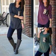 Hot Women's Casual 3/4 Sleeve Loose Tees T-shirts Tank Tops Blouse Pullover New