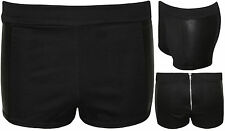 New Womens Black Wet Look Shiny Side Panel Back Zip Ladies Hot Pants Shorts 8-14