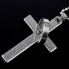 LORDS PRAYER Cross Necklace & Pendant SILVER BLACK OR BLUE - FREE POST
