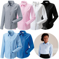 RUSSELL COLLECTION LADIES LONG SLEEVE SHIRT SMART TAILORED WORK EASY CARE XS-6XL