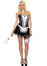 Music Legs Frisky French Maid 7PC.Maid Corset And Skirt With Attached Tulle70155