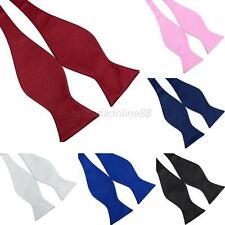Mult-colors Boys Men Polyester Satin Self Tie Adjustable Solid Bow Tie Fashion