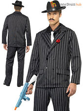 Mens Gangster Zoot Suit Costume Adults 1920s Pimp Fancy Dress Pinstripe Outfit
