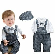 Baby Boy Wedding Christening Dressy Tuxedo Suits Overalls Outfit+HAT Set 6-24M