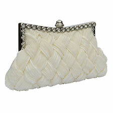 Ivory Clutch Bag Satin Pearl Beaded Diamante Wedding Prom Party Evening New